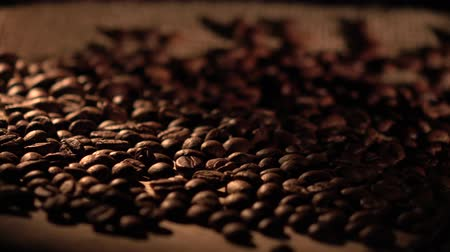 coffee time : Coffee beans with star anise on barrel, cam moves to the right, shadow Stock Footage