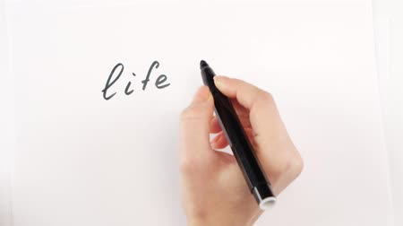 priority : Hand of woman writing goal life is cool on paper