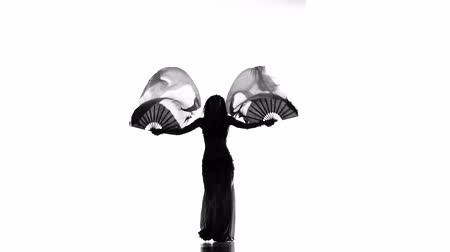 transparente : Exotic belly dancer woman starts dance with multicolored fans on white, silhouette