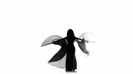 танцоры : Talanted exotic belly dancer girl dance with wings on white, silhouette