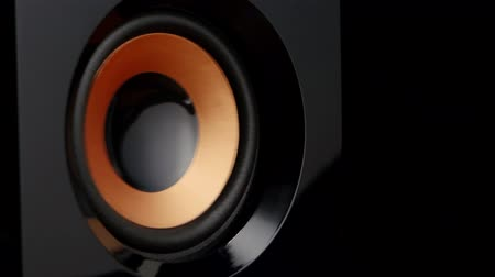 loud music : Moving professional music studio monitor. Closeup. Stock Footage