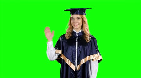 milestone : Portrait of female graduate student. Green screen Stock Footage