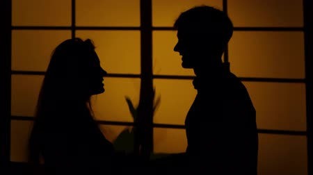 divórcio : Couple arguing at home. Silhouette. Close up
