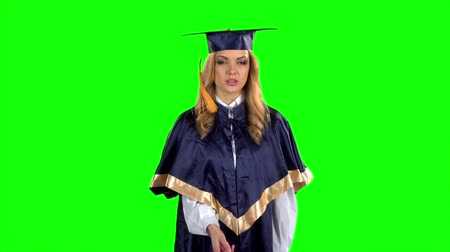 commencement : Student. Graduate. Green screen. Slow motion Stock Footage
