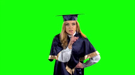 čepice : Looming finger. Graduate. Green screen. Slow motion
