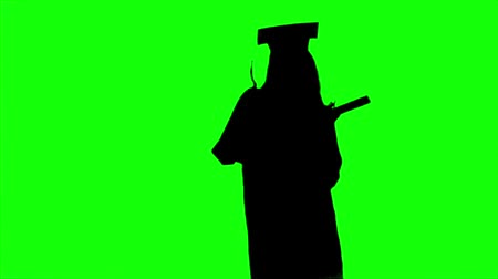 promoce : Dancing graduate with a diploma. Graduation at the university. Alpha channel. Silhoutte Dostupné videozáznamy