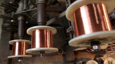 metal worker : Production of copper wire. Close up