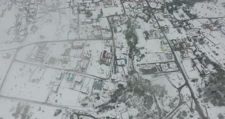 морозный : Top view of the small snowy town. Aerial view