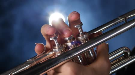 instrumentos : The smoky studio with lighting playing trumpet
