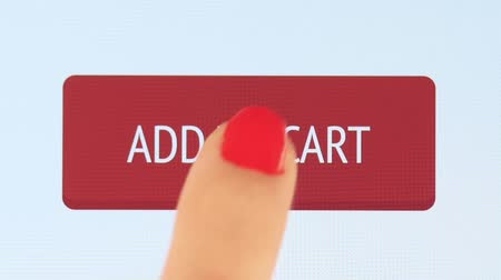 add to cart : Online shopping. Female finger touching tablet computer screen Stock Footage