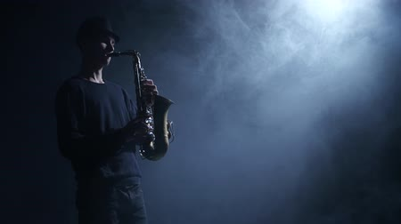 jazzman : Jazzman performs composition on the saxophone. Smoke in the dark