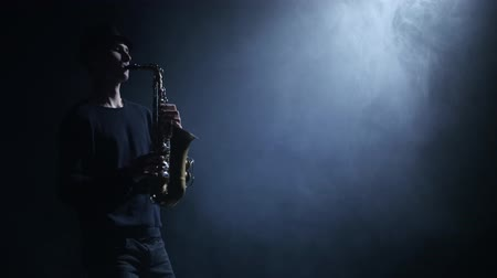 jazzman : Bluesman performing compositions on the saxophone. Smoke in the dark Stock Footage