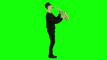 jazzman : Blues melodies performed by young musician on the saxophone. Studio