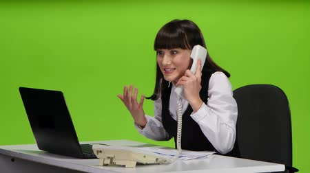 took : Girl enthusiastically took the news heard on phone. Green screen