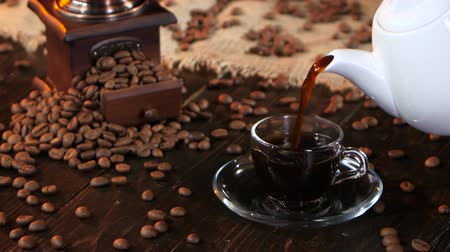 luxúria : Cup of fresh hot fragrant black coffee morning for breakfast Stock Footage