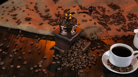 luxúria : Milkman with fresh cream and cup of black fragrant coffee Stock Footage