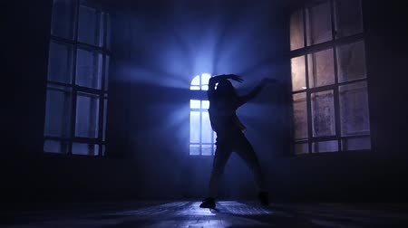 fingertips : Play light and shadow, dance in moonlight. Silhouette, slow motion Stock Footage