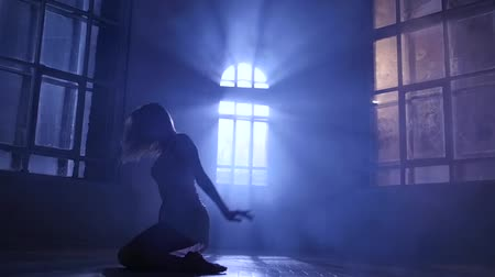 fingertips : Graceful girl dancer practicing contemporary in moonlight, silhouette. Slow motion