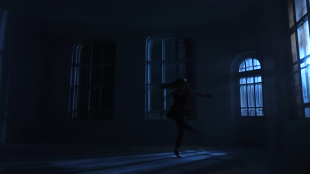 fingertips : Pirouettes performed by graceful dancer woman in the moonlight, silhouette Stock Footage