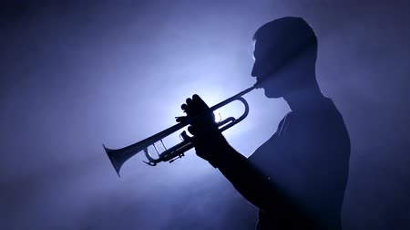 trombeta : Professional musician in smoky studio playing on trombone, silhouette. Close-up Stock Footage
