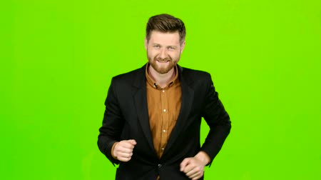 beardie : Male actor smiles, showing them different grimaces and language. Green screen Stock Footage