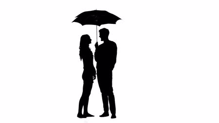 hides : Guy opens the umbrella and they kiss the girl. White background. Silhouette