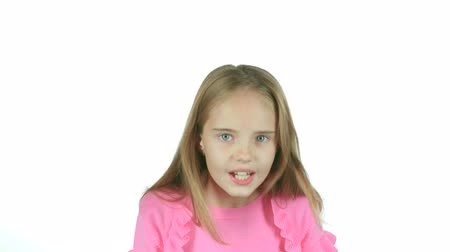 jitters : Little girl screams for her bad mood, shes angry. White background