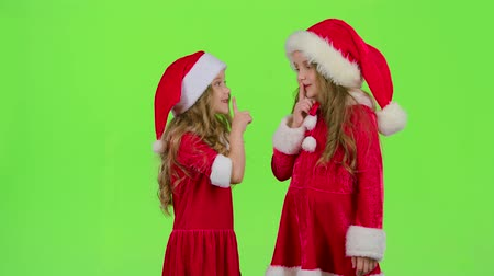 hat : Baby of the assistant Santa Claus say quietly to their elves. Green screen. Slow motion Stock mozgókép