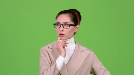 anlamı : Sales manager reflects on the working moments. Green screen. Slow motion Stok Video