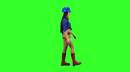 montáž : Girl wearing helmet and shorts goes sideways on a green background Dostupné videozáznamy