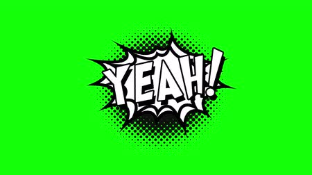 yeah : Comic strip speech bubble cartoon animation, with the words yeah. White text, black shape, green background Stock Footage