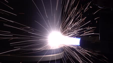 technological process : Plasma firing with a laser on a metal part Stock Footage
