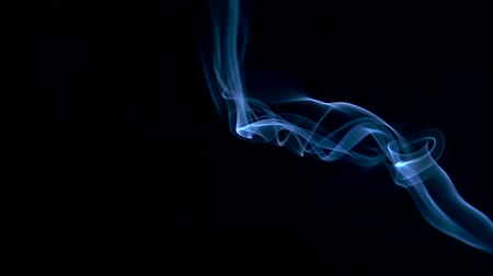 ладан : Blue Smoke Abstract slowly floating through space against black background. Стоковые видеозаписи