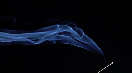 incenso : Incense stick are burning and smoke on black background,Smoke from incense. Slow motion Stock Footage
