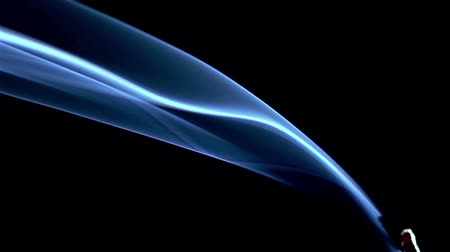 dobrar : Incense stick are burning and smoke on black background,Smoke from incense. Slow motion Stock Footage