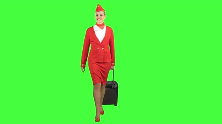 aktatáska : Stewardess walks and rolls the suitcase. Green Screen