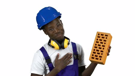 okey : Engineer african american shows a thumbs up . Alpha channel Stock Footage