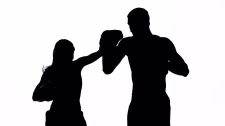 интенсивность : Development of straight kicks kickboxing on boxing paws. Silhouette. White background Стоковые видеозаписи
