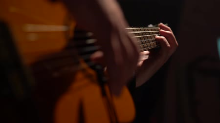 flamenco : Mens fingers touch the acoustic guitar strings. Close up