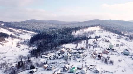 vendég : Village with the buildings is all covered with snow. Aerial view