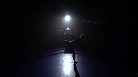 postura : Girl jumps in place and beats her feet . Silhouette. Slow motion