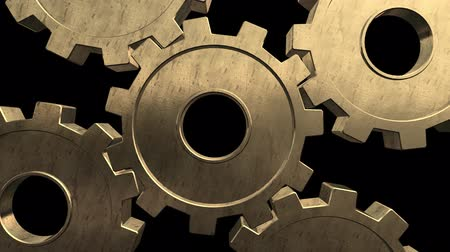 tornar : Five gold gears spinning . Black background. Alpha channel