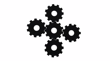 tornar : Five black gears spinning flies . White background. Alpha channel Vídeos