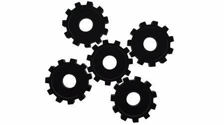 continuity : Five black gears spinning . White background. Alpha channel