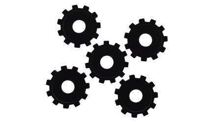 continuidade : Gears black spinning on white background close up. Alpha channel Vídeos