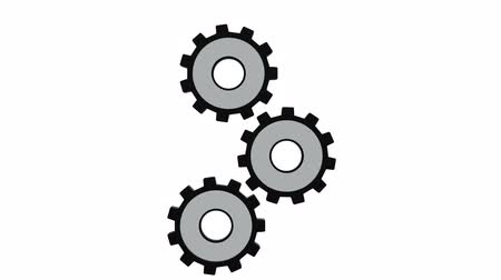 continuidade : Three gears spinning flies . White background. Alpha channel
