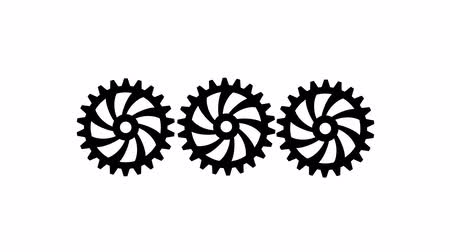continuidade : Three black gears spinning . White background. Alpha channel