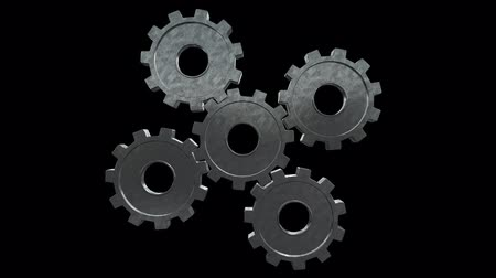continuity : Five gears spinning flies . Black background. Alpha channel