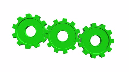 tornar : Green gears. White background. Alpha channel Stock Footage