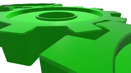 continuity : Three gears of green color 3d animation. White background. Alpha channel. Close up